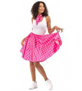 Jaren 50 Glimmend Roze Polkadot Rock And Roll Swing Vrouw Kostuum