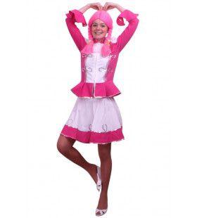 Dansmarieke Majorette Roze Vrouw Kostuum