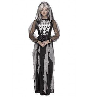 Elegante Skelet Bruid Vrouw Kostuum