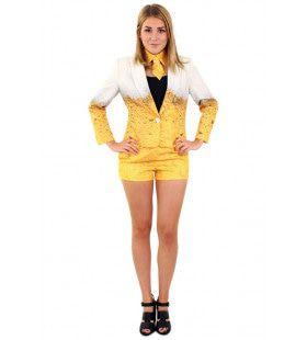 Goud Gele Rakker Bier Vrouw Kostuum