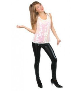 Disco Top Metallic Wit Vrouw