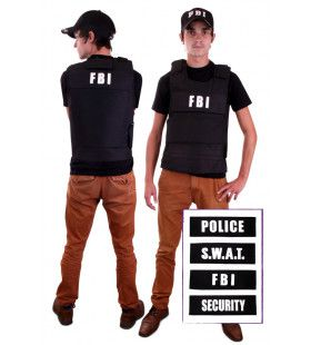 Kogelvrij Vest En 4 Badges Fbi, Security, Police, Swat