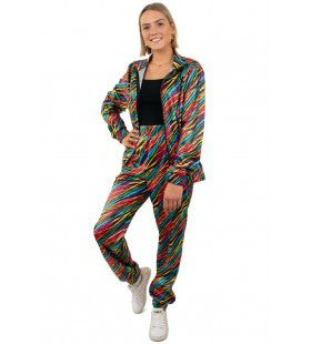 Jaren 80 Trainingspak Kleurige Zebra Strepen Dames Vrouw Kostuum