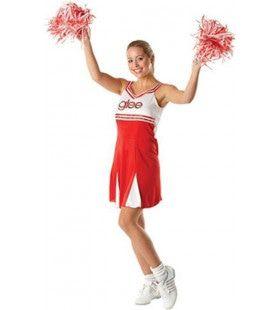Rood Witte Dansende Glee Cheerleader Vrouw Kostuum