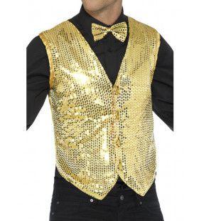 Glimmende Gouden Pailletten Vest Man