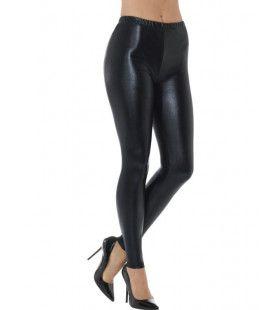 Zwarte Metallic Disco Legging Vrouw