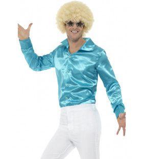 Lekker Krap Blauw Jaren 70 Disco Shirt Man