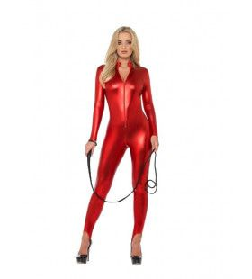 Opzwepend Glimmend Rood Catsuit Vrouw Kostuum