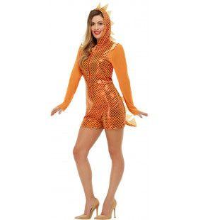 Oranje Glimmende Schubben Draak Met Stekels Vrouw Kostuum