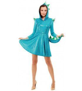 Blauwe Glimmende Schubben Draak Vrouw Kostuum