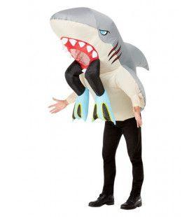 Opblaasbaar Opgeslokt Door Een Haai Man Kostuum