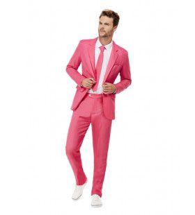 Lover Roze Kostuum Met Das Man
