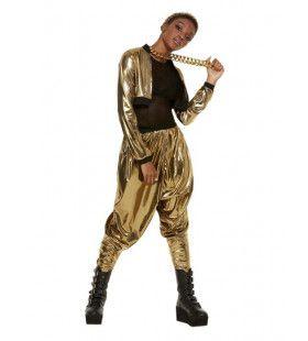 80s Hammer Time Golden Rapper Vrouw Kostuum
