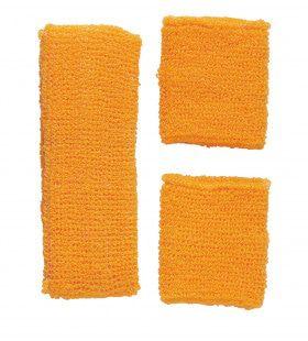 Atlethische 80s Zweetband Set, Neon Oranje