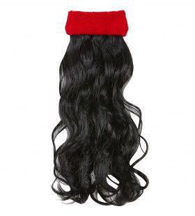 Sporty Rode Zweetband Met Zwart Gekruld Haar