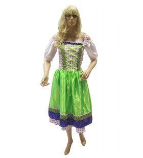 Beierse Dirndl Paars / Groen Vrouw Kostuum