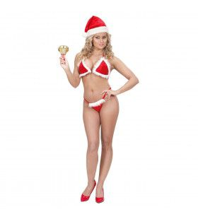 Kerst Bikini Fluweel Met Pluche Vrouw Kostuum