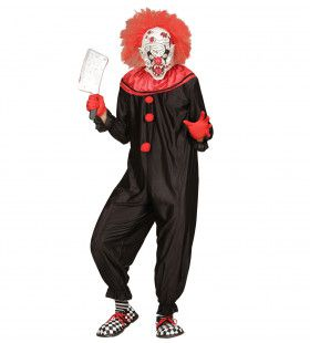 Zwart Rood Horror Killer Clown Man Kostuum