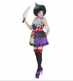 Veelkleurige Kwaadaardige Clown Dame Vrouw Kostuum