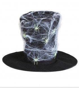 Halloween Fantasy Hoge Hoed Met Spinnenweb En Spinnen