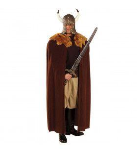 Gevechtscape Bruin Met Bonte Kraag Man Kostuum