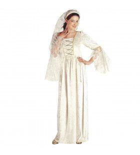 Witte Middeleeuwse Schone Kostuum Vrouw
