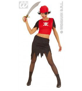 Piratendame Fiberoptisch Kostuum Vrouw