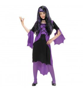 Paarse Vampier Meisje Kostuum