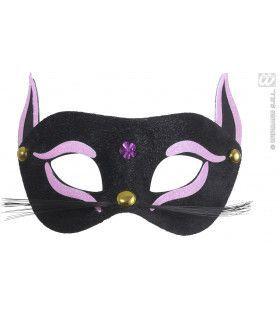 Oogmasker, Zwarte Kat Met Roze Glitter