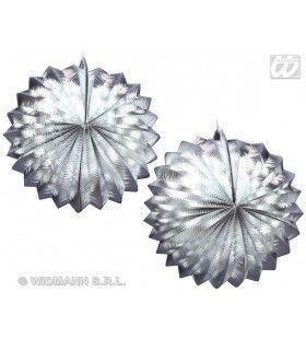 2 Zilver Metallic Lampions, 25cm