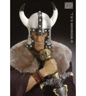 Helm Barbaar Met Hoorn, Latex Zilver