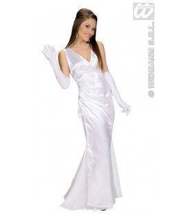 Beroemdheid, Satijn Wit Gala Lady Kostuum Vrouw
