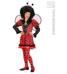 Lieveheersbeestje Met Vleugels Rood-Zwart Kostuum Meisje