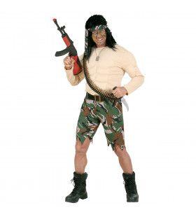Spierballenshirt Soldaat Rambo Kostuum Man