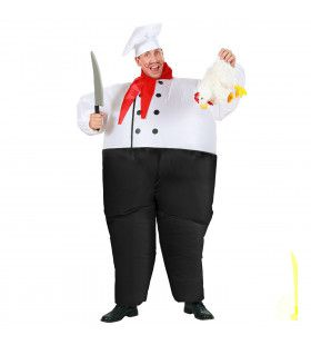 Opblaasbaar Chef Kok Chef Eat-A-Lot Kostuum Man
