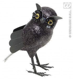 Glitter Uil Zwart, 18,5cm
