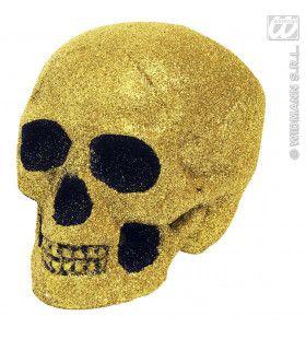Glitter Schedel Goud 19 Centimeter