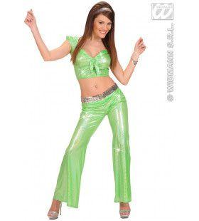 Holografische Broek Dames, Groen Vrouw Kostuum