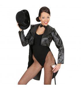 Frackjas Satijn Dames, Zwart Vrouw Kostuum