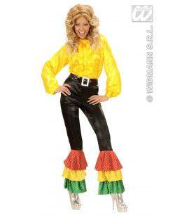 Zwarte Broek Satijn Met 3 Kleuren Pailetten Vrouw Kostuum
