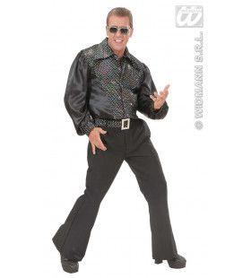 Zwart Shirt Pailletten Man Kostuum