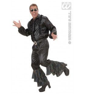Zwarte Broek Fluweel Met Wit Zwarte Pailletten Man