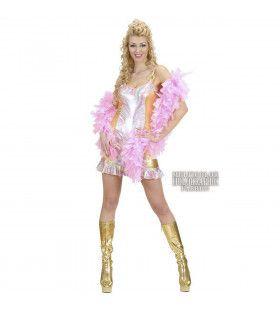 Holografische Jurk Multicolour Met Goud Hot Chick Kostuum Vrouw