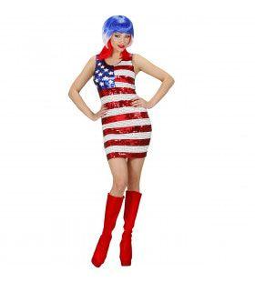 Hot Gogo Girl Paillettenjurk Miss Usa Kostuum Vrouw