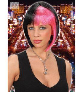 Pruik, Zoey Zwart Met Roze Highlights