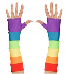 Tachtiger Jaren Vingerloze Handschoenen Satijn, Regenboog Kleuren