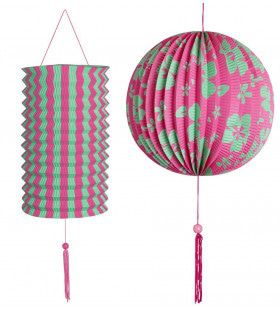 Feestelijke Decoratie Set Roze / Groen