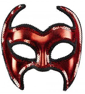 Venetiaans Duivelsmasker Metallic Met Pailletten