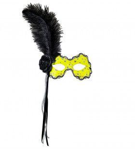 Samba Oogmasker Brazilie Met Veren, Neon Geel