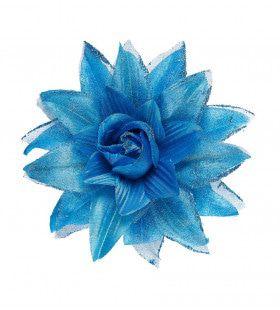 Tropische Haarclip Bloem Met Glitter, Azuurblauw